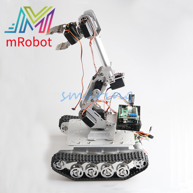 Smart Robot with 8 DOF Mechanical Arm Shock Absorber Tank Chassis for Grabbing Transport DIY Educational Project