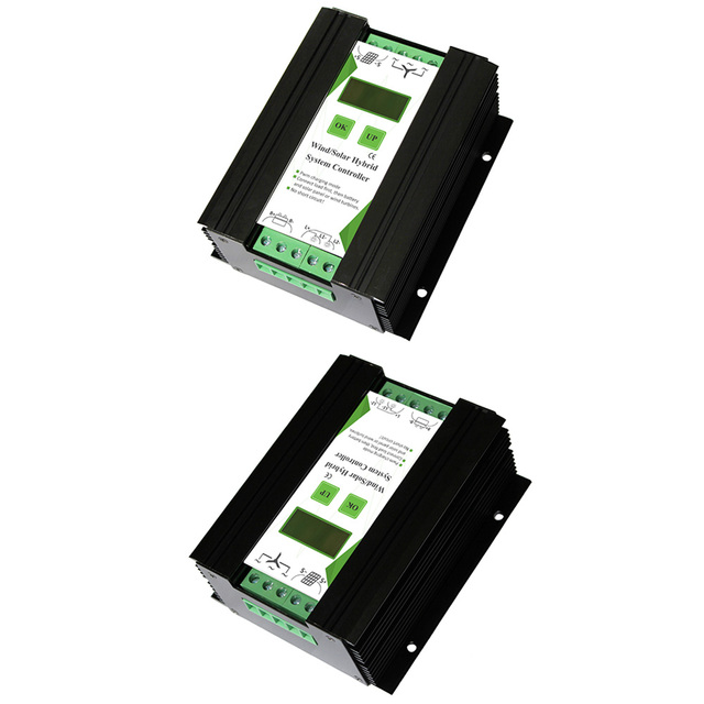 12V 24V 600W LCD Screen Equipment Accessories Wind Solar Home Hybrid Controller Electrical Automatic Charge Aluminum Alloy Power 5