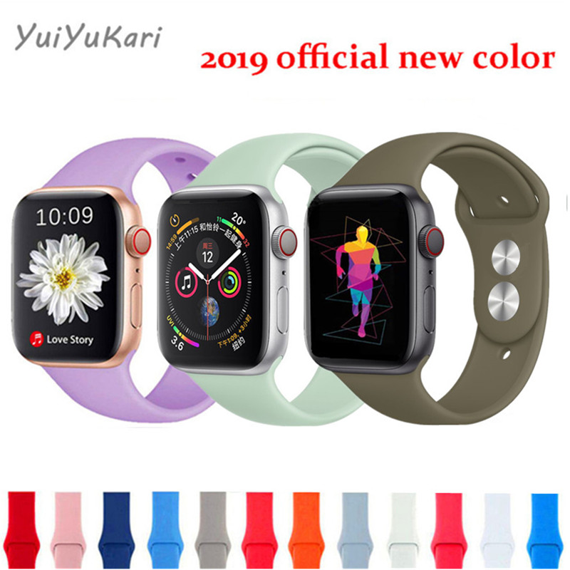 New Sport Silicone For Apple Watch Band 4 44mm 40mm (iwatch 5) Applewatch 3 2 1 42mm 38mm Wrist Bracelet Accessories