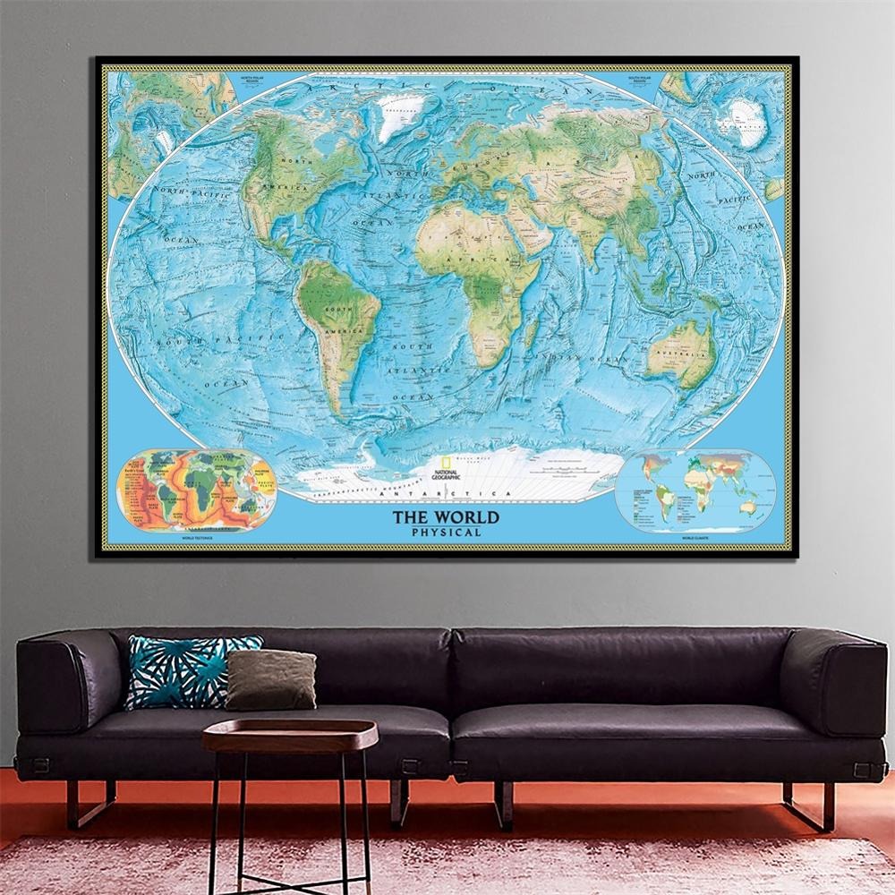 The World Physical Map With World Tectonics And Climate HD National Geographic World Map Canvas Spray Painting For Wall Decor