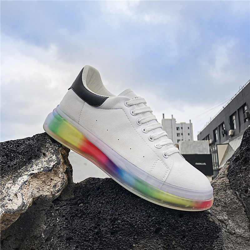 US $17.69 30% OFF UNN Spring 2020 Newest Man Shoes Leather Mens Shoes Casual White Men Sneakers Fashion Rainbow Bottoms Men Platform Flats on