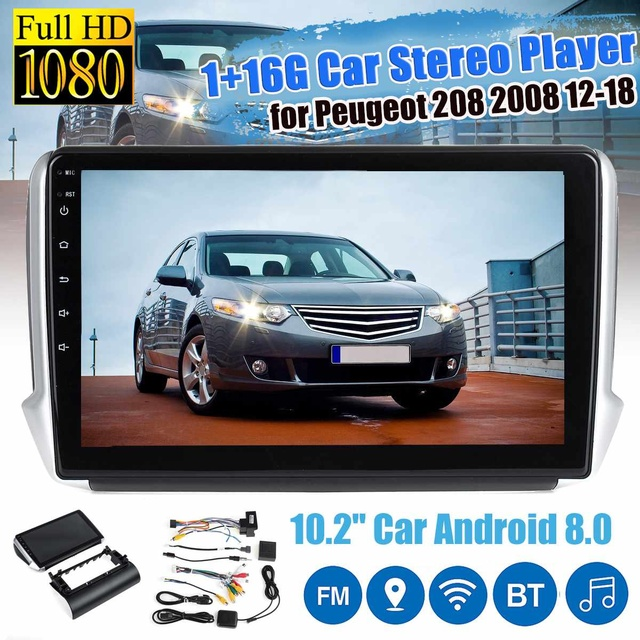 "1 Din 10.2 ""Android 8.0 Auto Gps Multimedia Speler Stereo Radio Nav Bluetooth Wifi Voor Peugeot 2008 208 2012 2018"