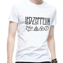 Led Zeppelin Zoso Band T Shirt Summer Fashion Men Cotton T-shirt Led Zeppelin Hip-hop Letter Printed Short Shirt Hip Hop Top Tee(China)