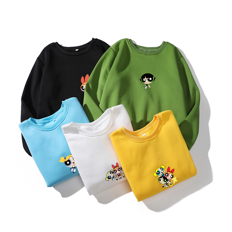 Blossom Bubbles BB Hair  Fashion Sweatshirt For Harajuku Women Hip-hop Korean Style Cartoon Print Girl Autumn Fashion Sweatshirt