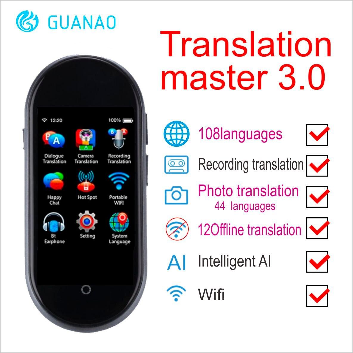 Tradutor de Voz Global Portátil Inteligente Idioma Dupla Philips Alto-falantes Foto Traduzir Instantâneo Voic Tradutor 108