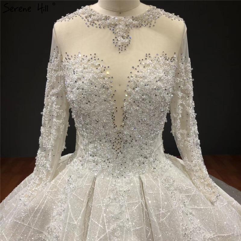 Image 2 - Ivory High end Sparkle Crystal Beading Wedding Dresses Long Sleeves Sexy Luxury Bridal Gowns HA2271 Custom MadeWedding Dresses   -