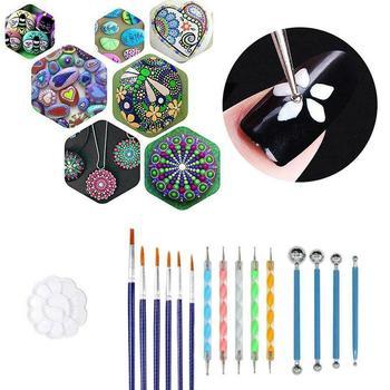 Stippling Tools 20 Pcs Painted Template Stone Painted Creative Mandala Tools Template For Diy Art Graffiti Supplies L8M3 tanie i dobre opinie