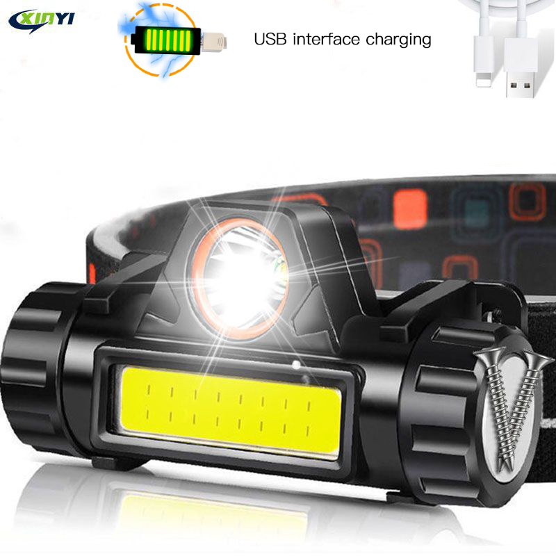 USB Rechargeable LED Headlight Powerful COB Headlamp Head Flashlight Torch Waterproof Head Light With 1200mAh Built-in Battery