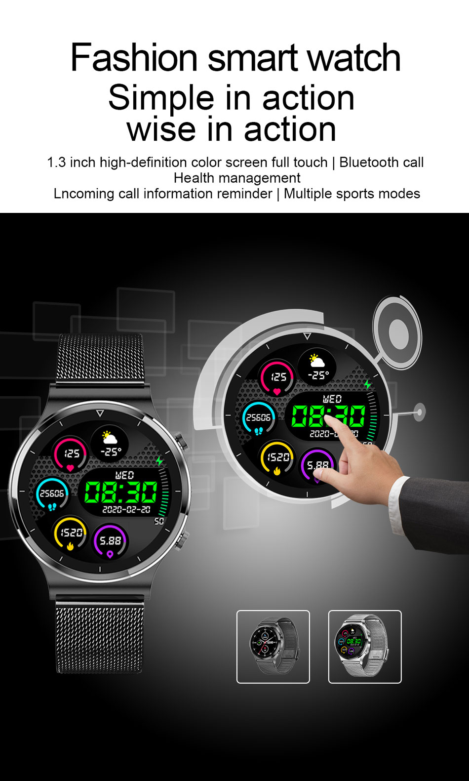 H91a2a355c8c84d2eb399a86e0bb21263d LIGE New Smart watch Men Heart rate Blood pressure Full touch screen sports Fitness watch Bluetooth for Android iOS smart watch