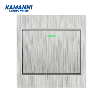 Kamanni Push Button Switch 1/2/3/4 Gang 1/2 Way Grey Drawing Panel Fluorescent Indicator EU Standard 16a Wall Light Switch chint switches panel new5g two position one gang one way 118 type wall switch push switch