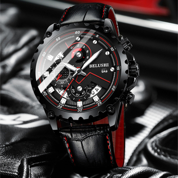 2020 New Mens Watches Top Luxury Brand Leather Chronograph Waterproof Sport Automatic Date Quartz Watch Men Relogio Masculino new arrived automatic date waterproof genuine leather quartz wristwatches songdu top brand luxury brand men watches