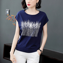 여름 짧은 소매 티셔츠 여성 탑스 티 2020 새로운 느슨한 피팅 코 튼 t 셔츠 플러스 크기 인쇄 느슨한 Tshirt M 3XL