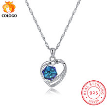 COLOGO 925 Sterling Silver Sparkling crystal Our Hearts & Love pendant Choker Necklace For Women Jewelry Birthday Gift LKN0032(China)