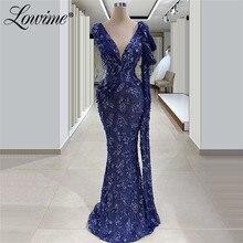 חרוזים כחול פורמליות שמלת ערב שמלת 2020 V צוואר פאייטים סדרת בת ים המפלגה שמלת מוסלמי שמלות נשף ארוך מותאם אישית