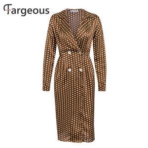 Image 5 - Vintage Polka Dot Satin Dress Women Long Sleeve Winter Party Dress Elegant Turn Collar Slit Maxi Dresses Ladies Button Dress
