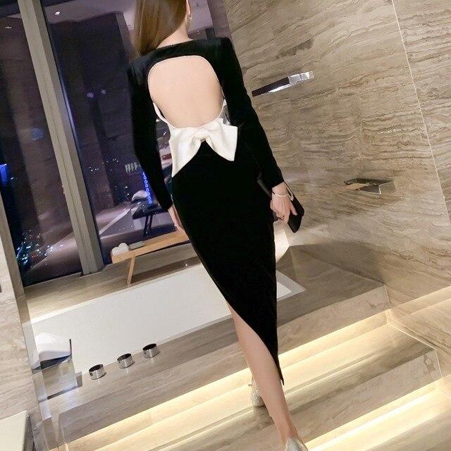 2021 Autumn Elegant Women Long Sleeve Slim Split Velvet Black Sexy Backless Evening Party Dress 6