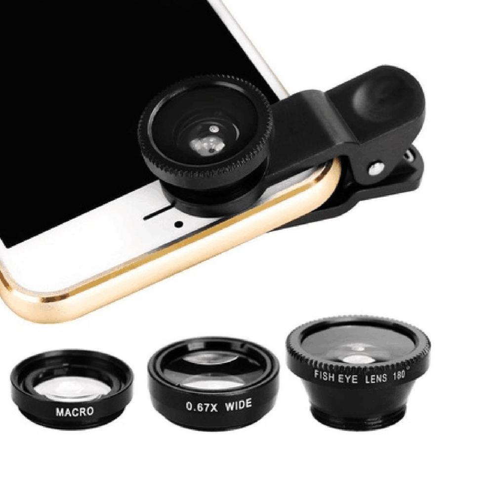 3 в 1 Многофункциональный телефон комплект объектива Рыбий линзы+ макросъемочные линзы+ Широкий формат объектив превратить телефон в профессиональный Камера - Цвет: Черный