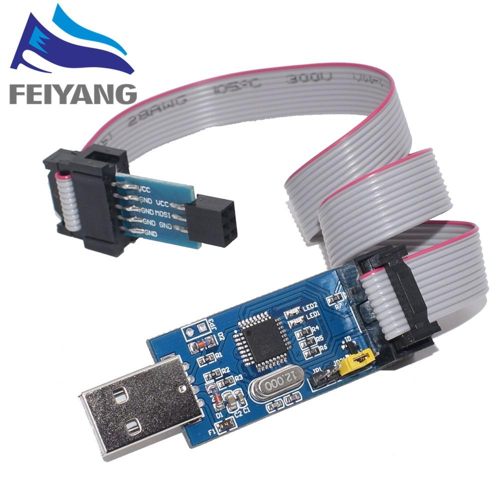 isp18 - 1pcs 10Pin To 6 Pin Adapter Board + USBASP USBISP AVR Programmer USB ATMEGA8 ATMEGA128 ATtiny/CAN/PWM 10Pin Wire Module DIY
