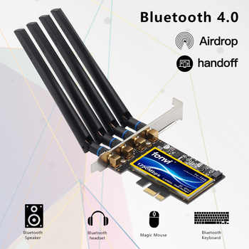 FV-T919 Dual band 1750Mbps 802.11AC Hackintosh PCI-E WiFi Adapter PCI Express Wireless BCM94360CD + Bluetooth BT 4.0 4*Antenna