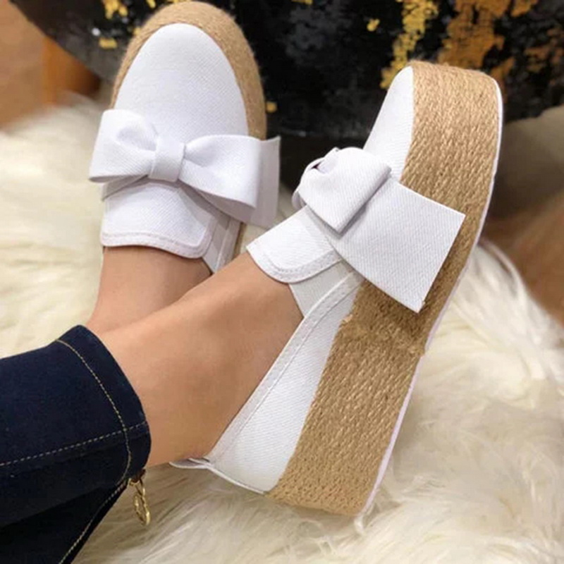 2020 New Spring Women Flats Shoes Platform Sneakers Slip on Bows Flats Leather Suede Ladies Loafers Moccasins Casual Shoes