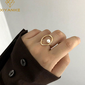XIYANIKE 925 Sterling Silver Vintage Pearl Rings for Elegant Women Creative Geometric Party Accessories 2020 Fine Jewelry Gifts