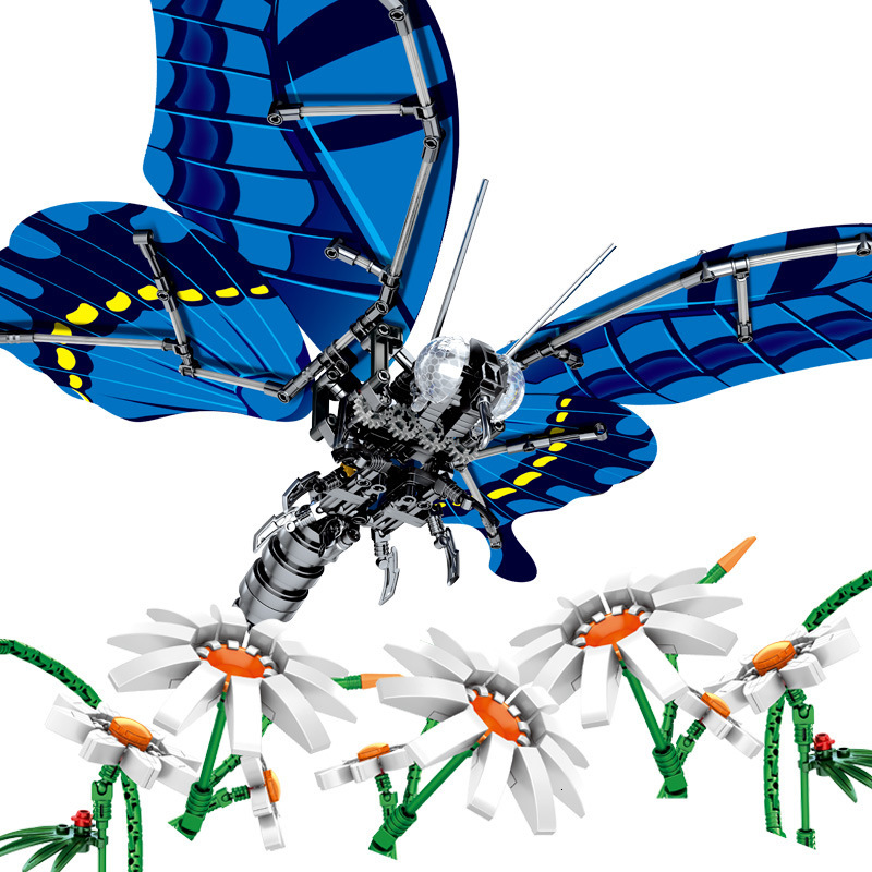 Technic Creator Insect Butterfly DIY Building Block MOC Simulated Kit Mini Brick Animal Model Toys Educational Toy WJ066