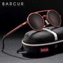 Barcur Retro Aluminium Magnesium Zonnebril Gepolariseerde Vintage Eyewear Accessoires Vrouwen Zonnebril Rijden Mannen Ronde Zonnebril
