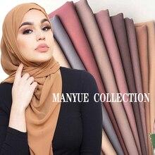 Простой пузырь шифон хиджаб платок шарф для женщин сплошной цвет длинные шали и палантины мусульманские хиджабы шарфы женский платок Femme