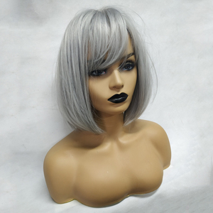 Image 3 - EASIHAIR Grey Straight Bob Synthetic Wigs with Bangs for Women Medium Length Hair Bob Wig Wavy Heat Resistant Cosplay Wigs
