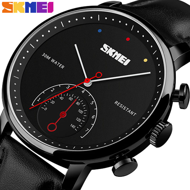 <font><b>SKMEI</b></font> Quartz Men Watch Luxury Leather Strap Watches Alloy Case 30M Waterproof Wristwatch Fashion Simple Watch Relogio Masculino image