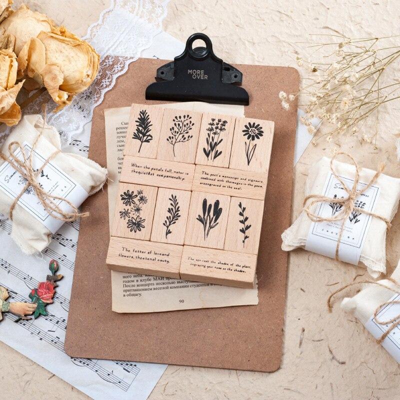 3 Pcs/set Vintage Flowers Plant Proverb Stamp DIY Wooden Rubber Stamps For Scrapbooking Stationery Scrapbooking Standard Stamp