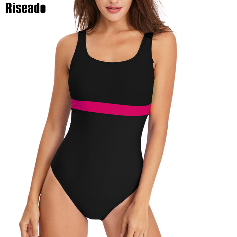 Riseado New One Piece Swimsuit Women 2019 Sport Competition Swimwear Patchwork Racing Swimming Suits for Women U-back Bathers