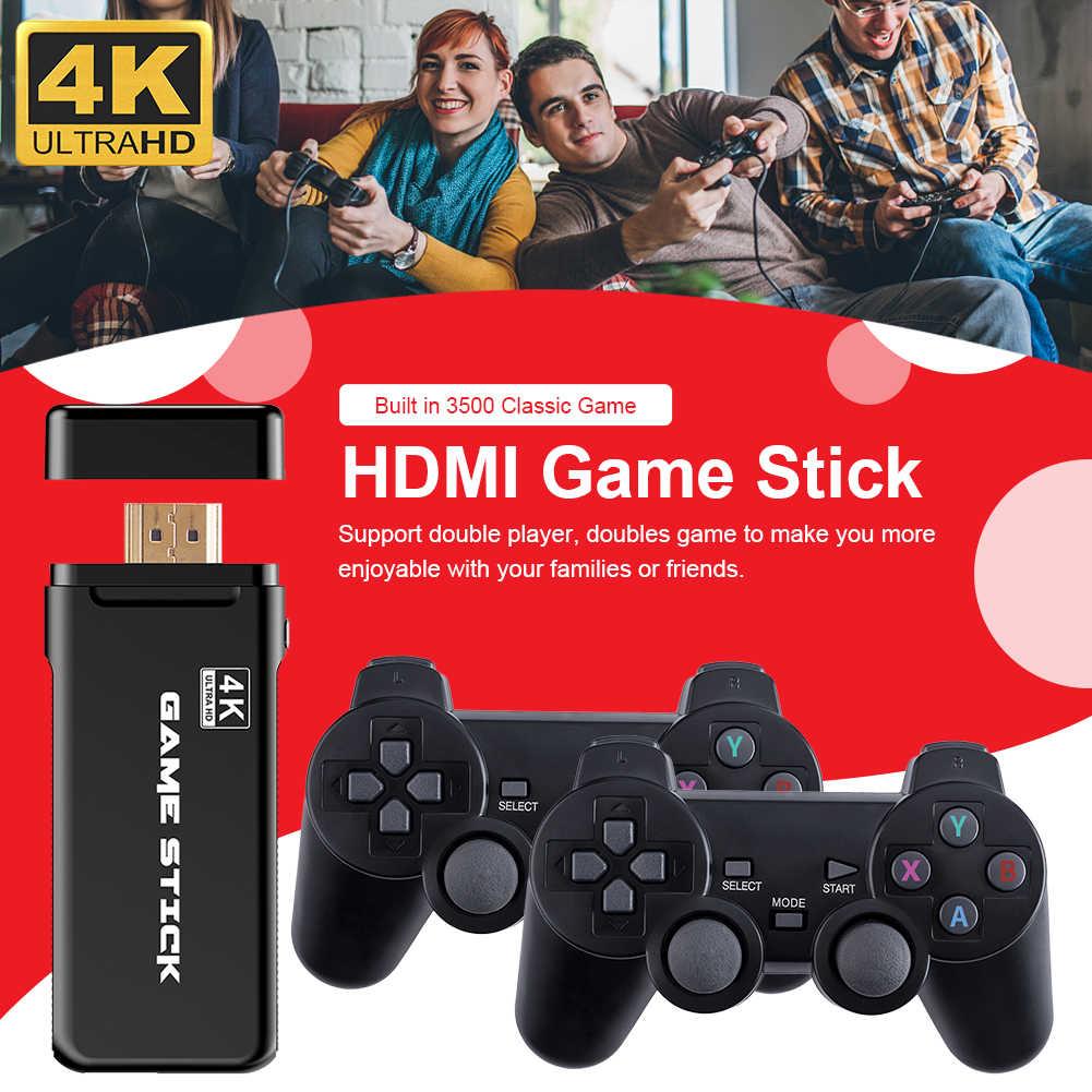 جديد 4K ألعاب USB اللاسلكية وحدة التحكم 3500 الكلاسيكية لعبة عصا لعبة فيديو وحدة التحكم 8 بت تحكم صغير الرجعية HDMI الناتج المزدوج لاعب