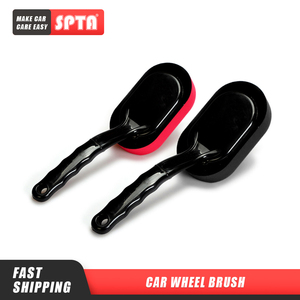 Image 1 - SPTA Car Wheel and Tire Waxing Applicator Coating Sponge Brush Black and Red Waxing Sponge Brush Replaceable Cleaning Hand Pad