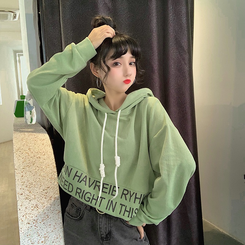 sweet hooded letter loose full Korean style Spring and autumn ladies tops Women's Clothing fashion brand high quality Hoodies 5