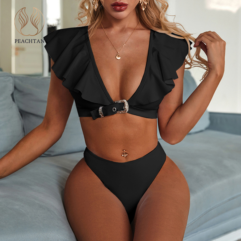 Peachtan Vintage Solid White Bikini Set 2020 Ruffle Swimsuit Female Belt Swimwear Women Push Up Bikini Bathers Bathing Suit New