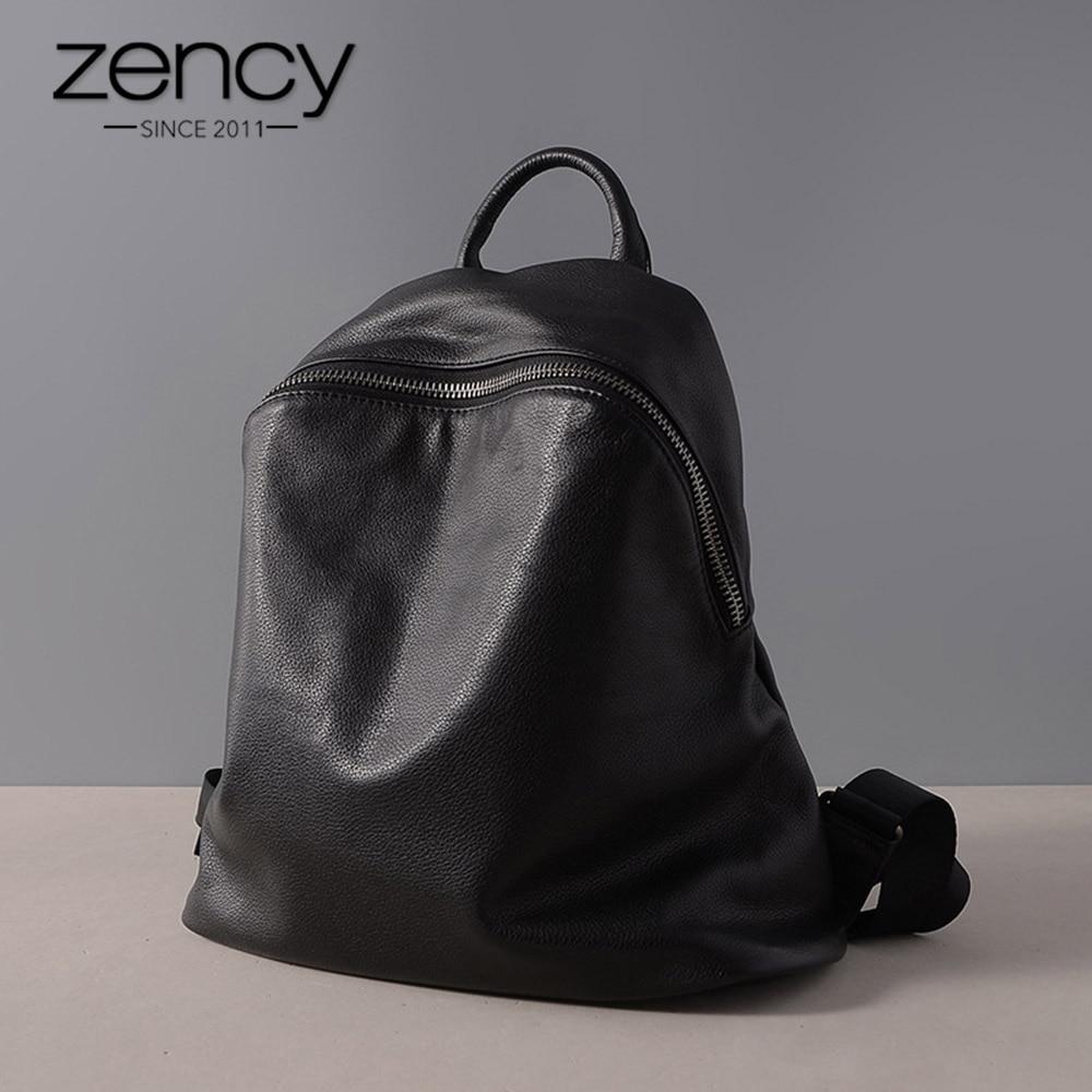 Zency Cowhide 100% Genuine Leather Black Women Backpack Vintage Travel Bags Notebook Schoolbag For Girls Daily Holiday Knapsack
