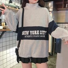 2019 Autumn Womens Sweatshirts Korean Fashion Casual Letter Stitching Zipper Loose Boyfriend Style Female Sweatshirt Oversize