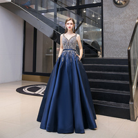 A Line Navy Luxury Sleeveless Evening Dresses 2020 Delicate Sequined Sparkly V Neck Formal Dress