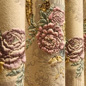 Image 2 - Cortina para janela de bege, grande flor europeu, com relevo, 4d, grossa, para janela, para sala de estar, alta qualidade