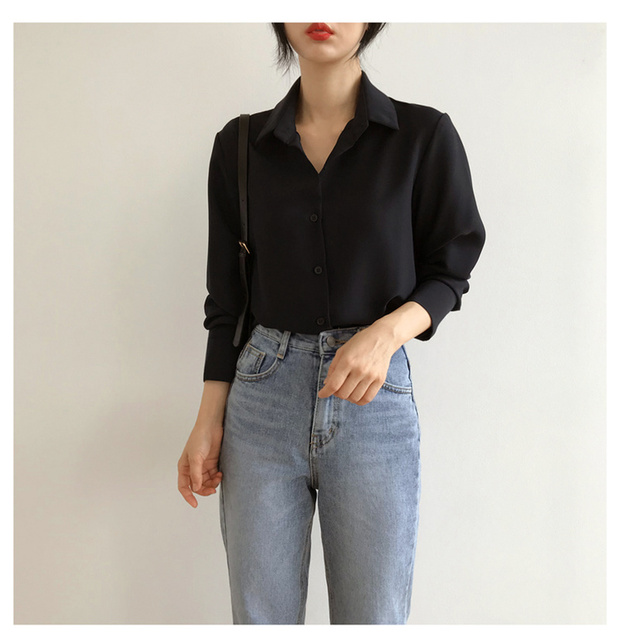 New Women's Shirt Classic Chiffon Blouse Female Plus Size Loose Long Sleeve Shirts Lady Simple Style Tops Clothes Blusas 6830 50 3