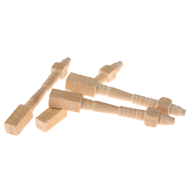 4pcs/lot <font><b>1</b></font>:<font><b>12</b></font> Dollhouse Miniature DIY Wooden Furniture Chair Table Leg Accessories image