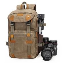 Батик Холст + кожаная водонепроницаемая сумка для камеры на открытом воздухе фотография DSLR/Рюкзак SLR Foto камера складная сумка для фотоаппарата для Nikon Canon sony DSLR