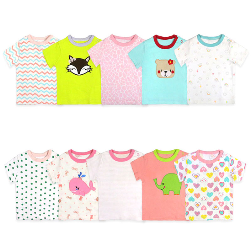 [2 Pcs/Lot Random Color]Cotton Short Sleeve Newborn Baby T-shirt Cartoon Print Baby Clothes Summer Toddler Tops 3-24Months