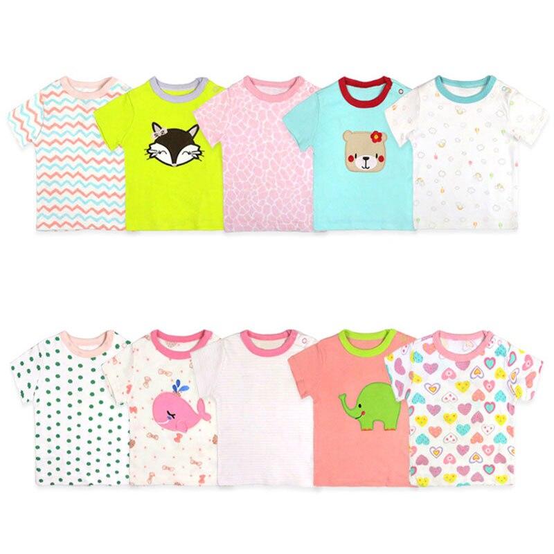 [2 Pcs/Lot Random Color]Cotton Short Sleeve Newborn Baby T-shirt Cartoon Print Baby Clothes Summer Toddler Tops 3-24Months