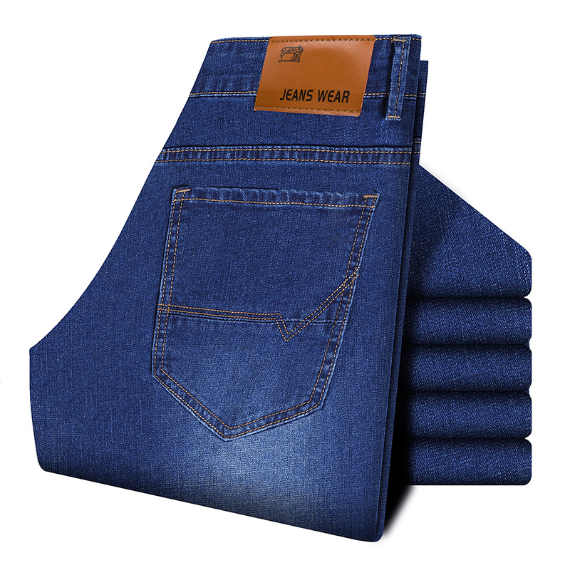 MEN'S WEAR 2019 New Style Simple Fashion Jeans Men's Business Casual Classic Style Elasticity Slim Fit Straight Jane Trousers