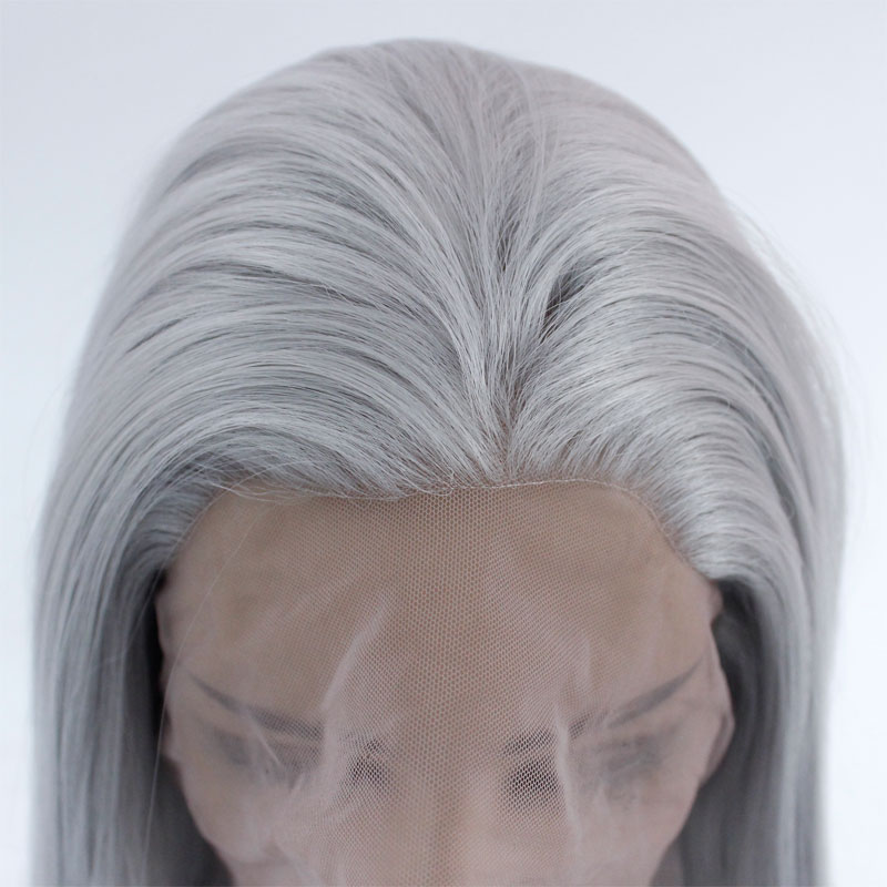Lace-Front Wig Hair-Wigs Heat-Resistant-Fiber Silver Grey Natural Synthetic Straight title=
