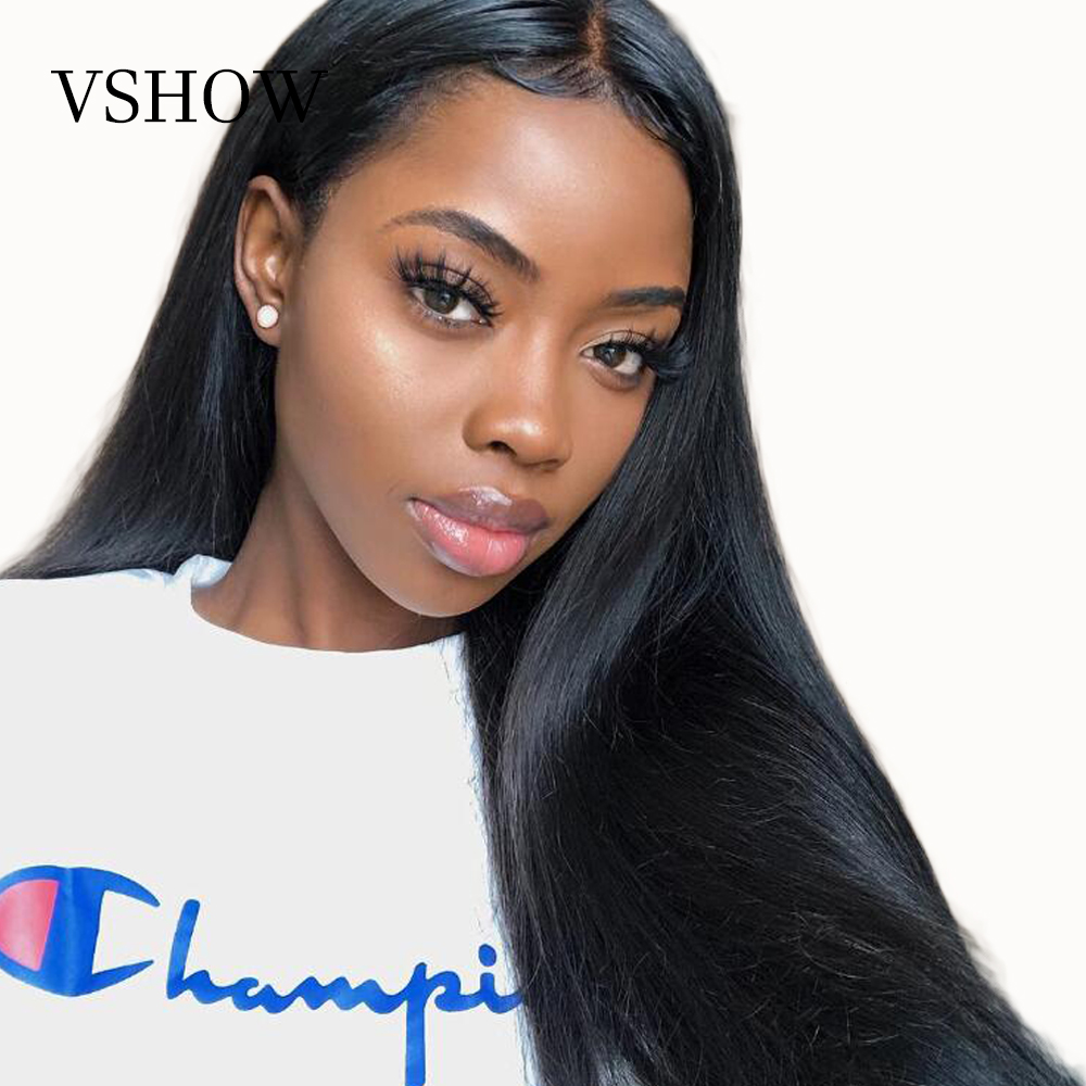 VSHOW 13x4 Pre Plucked Lace Front Human Hair Wigs With Baby Hair 150 250 Density Straight