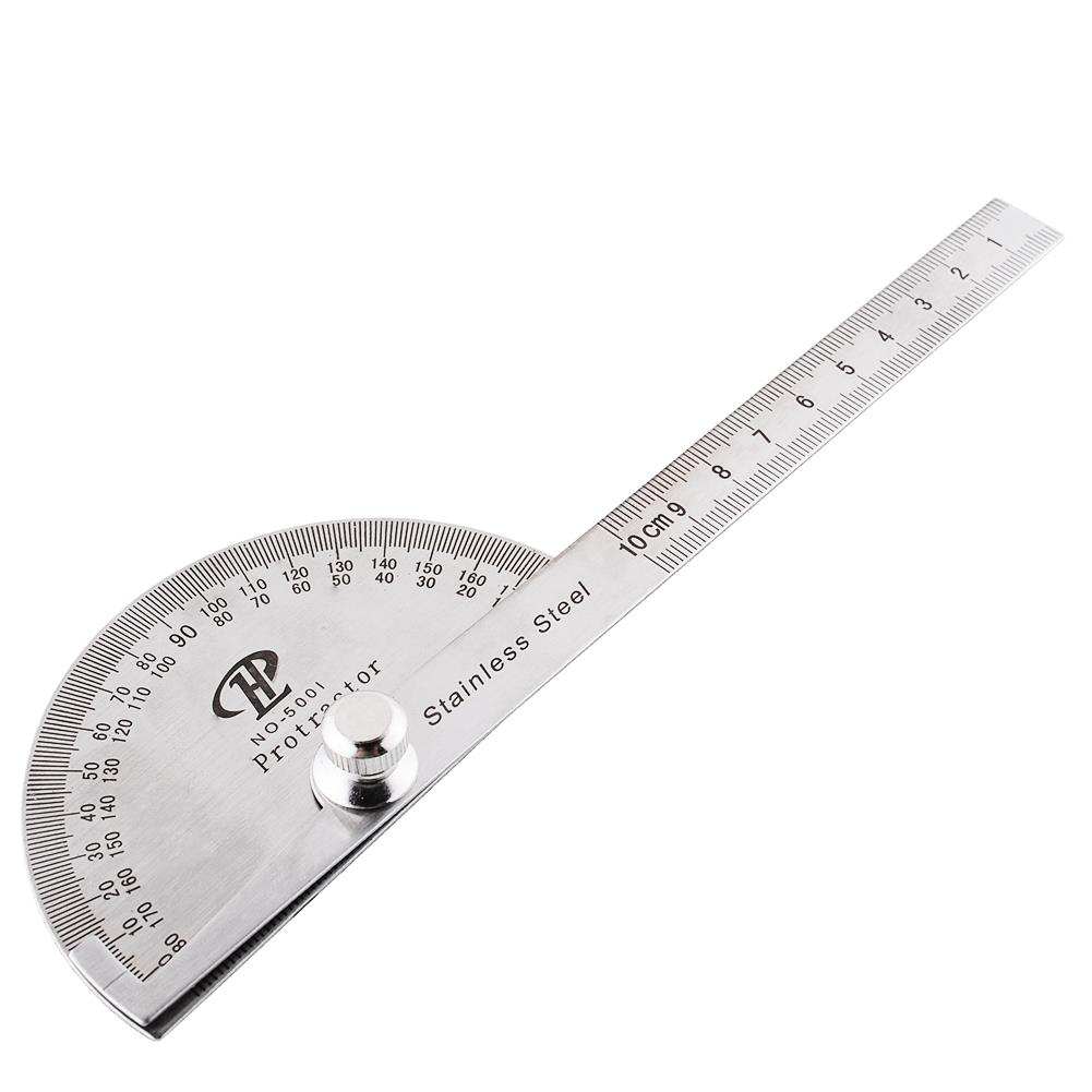 Stainless Steel Round Head Rotary Protractor Angle Finder Rule Measure Tool