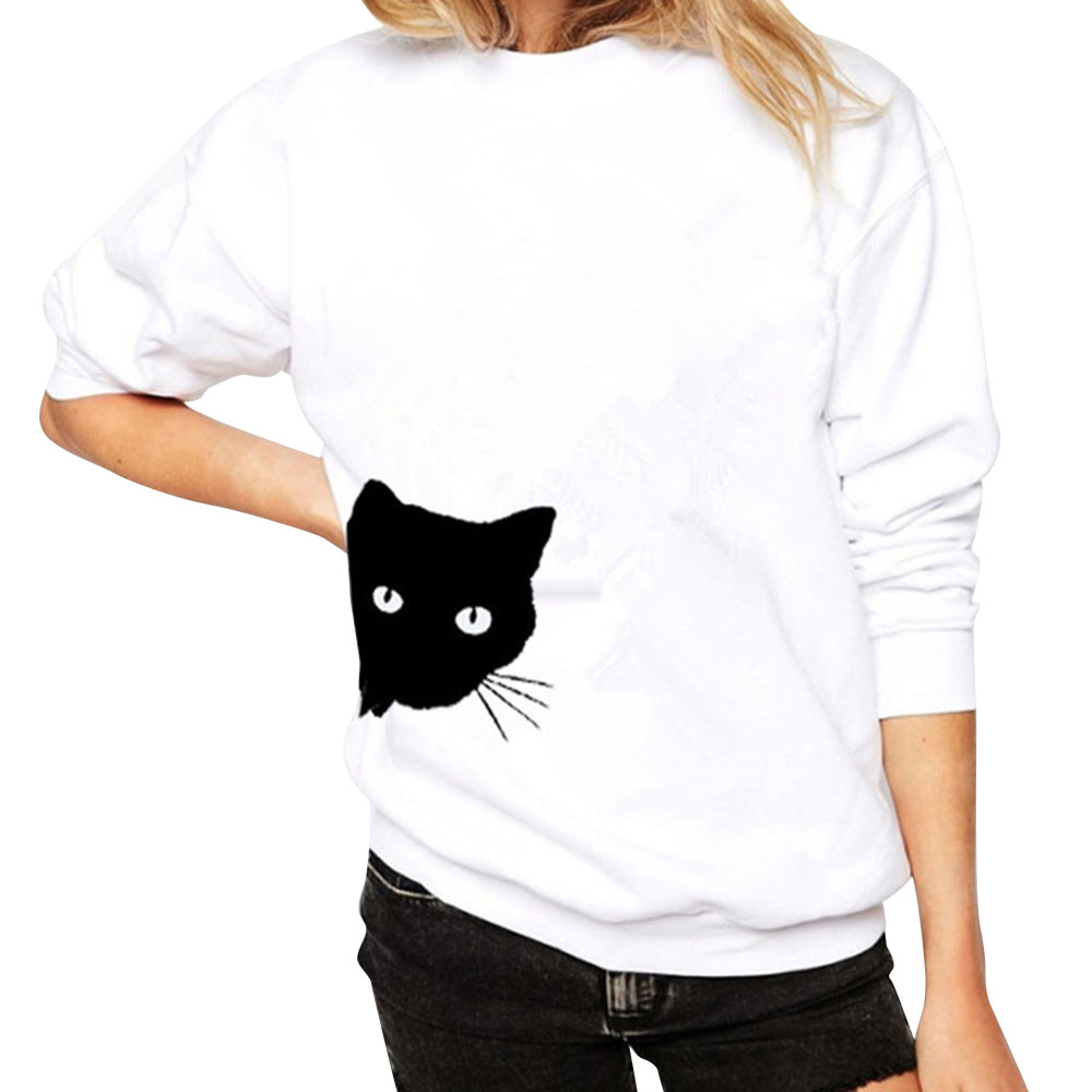 JAYCOSIN Fashion Women Casual Simple Cat Print Loose Sweatshirt Long Sleeve Comfortable Soft Pullover Tops Blouse